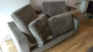 Steam cleaning on two seats sofa, armchair and rug in SW1W area, Pimlico, Westminster, Central London