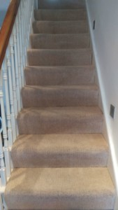 Carpet cleaning on flight of stairs in SW6 area, Hammersmith and Fulham, London
